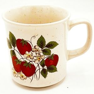 Vintage Strawberry and Blooms Speckled Mug Made in